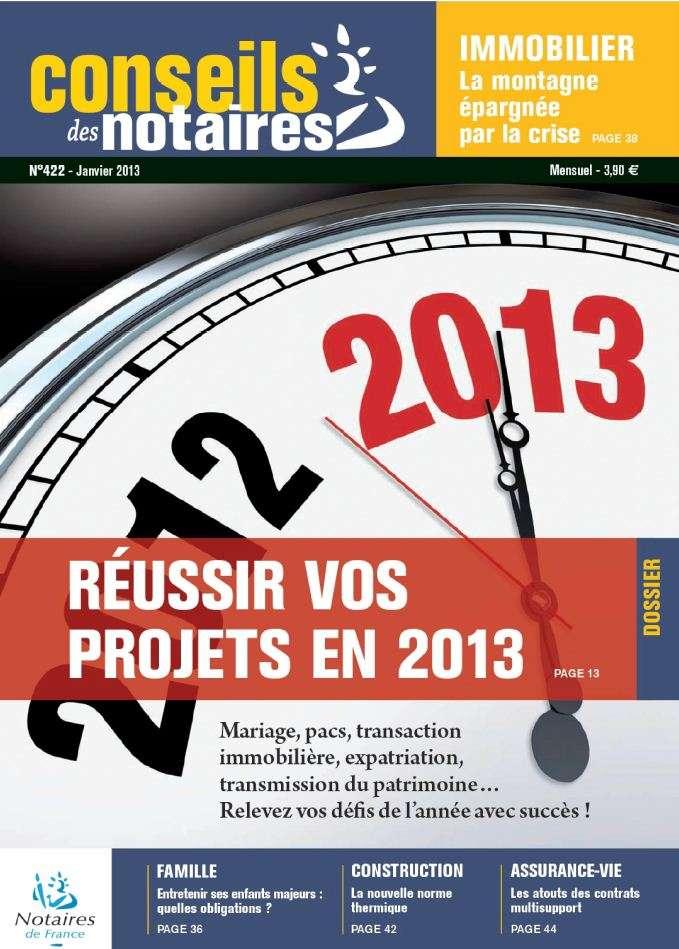 Conseils des Notaires N°422 Janvier 2013